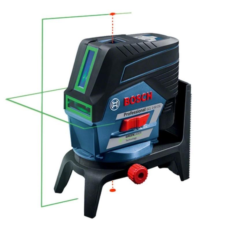 Gcl 2 50 cg laser croix vert bosch support mural for Niveau laser exterieur professionnel