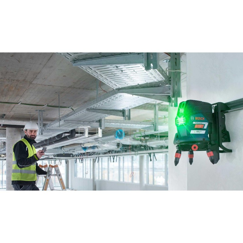 Gcl 2 50 cg laser croix vert bosch support mural for Niveau laser pour plafond